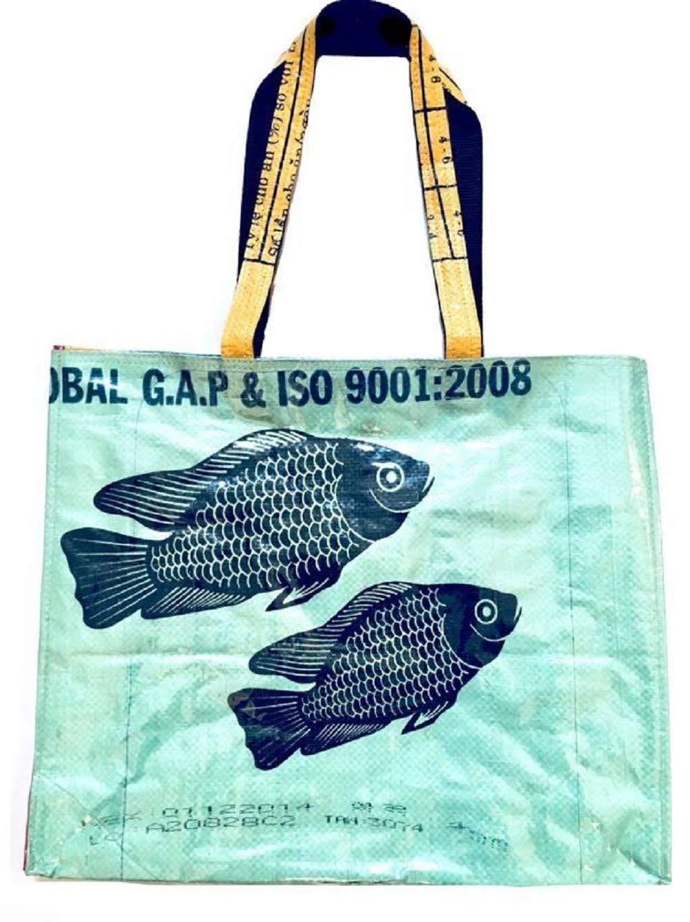 Serado エコフレンドリー リサイクル食料品バッグ/ショッピング/ビーチトート - リサイクルセメント&フィードバッグからカンボジアで手作り - 再利用可能で丈夫 B07GNP9SDB Green w/ Black Fish