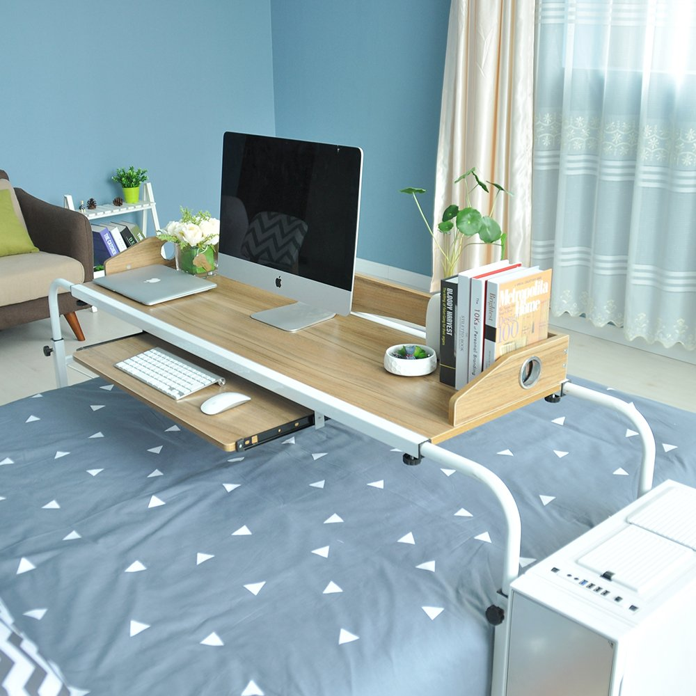 Soges Overbed Table 55'' Laptop Cart Hospitable Bed Table Computer Table Nursing Table for Eating on Bed, Teak 203-2-140GXM