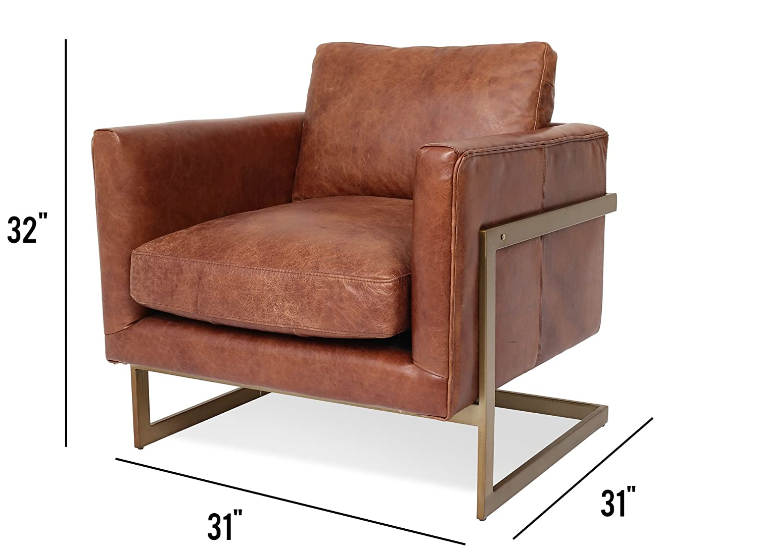 Edloe Finch EF-Z4-LC004 Gustaaf – Modern Leather Accent Chair Lounge Chair Living Room – Cognac Brown