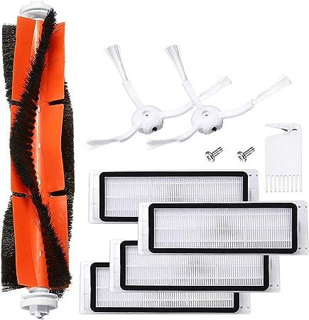 Charminer Accesorios Compatibles para Aspiradora Xiaomi Vacuum 1/2 Robot Recambio de Roborock s50, 1 Cepillo Central + 2 Cepillos Laterales + 1 Auxiliar de Limpieza + 4 Filtros HEPA: Amazon.es: Hogar