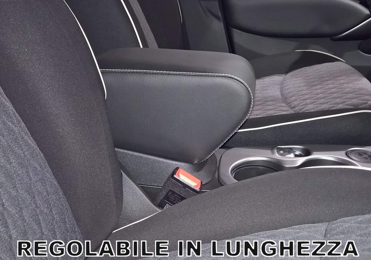 Drive Design Bracciolo Fiat 500 X Ecopelle Nero con Cuciture Bianche Regolabile in Lunghezza Armrest mittelarmlehne
