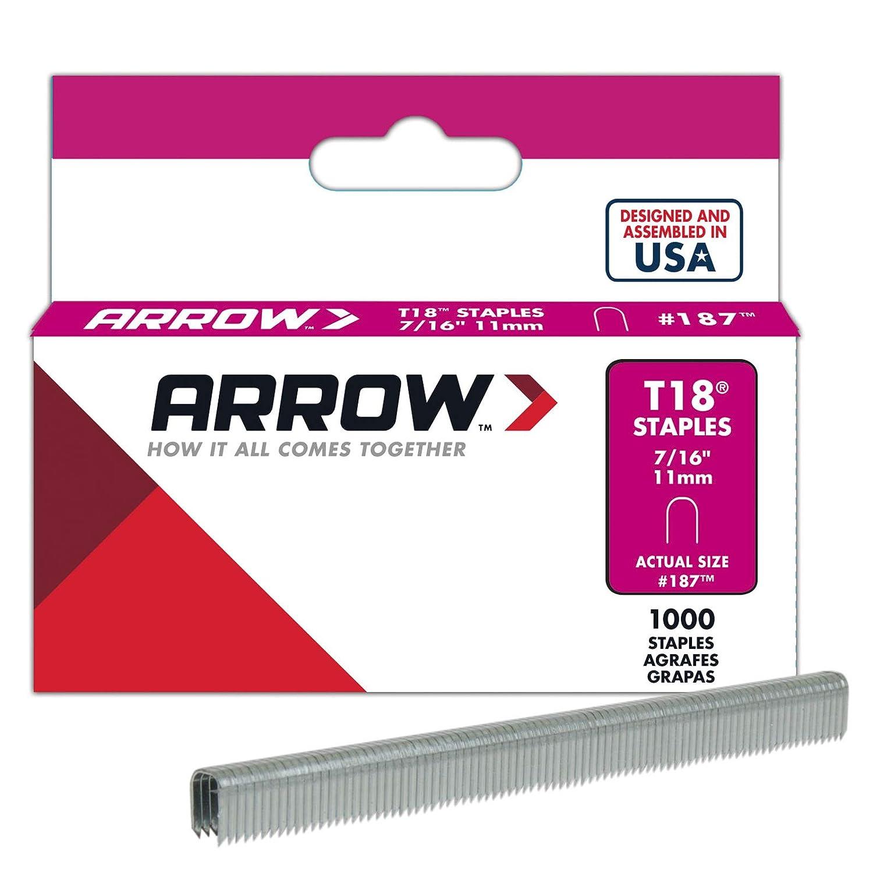 Arrow Fastener 187 7/16-Inch Genuine T18 Staples, 1,000-Pack
