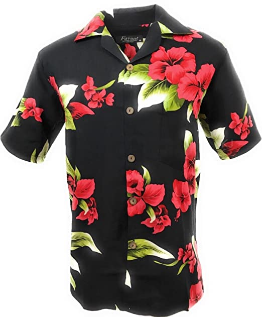 f34462d6 Amazon.com: Favant Tropical Luau Beach Flower Print Men's Hawaiian ...