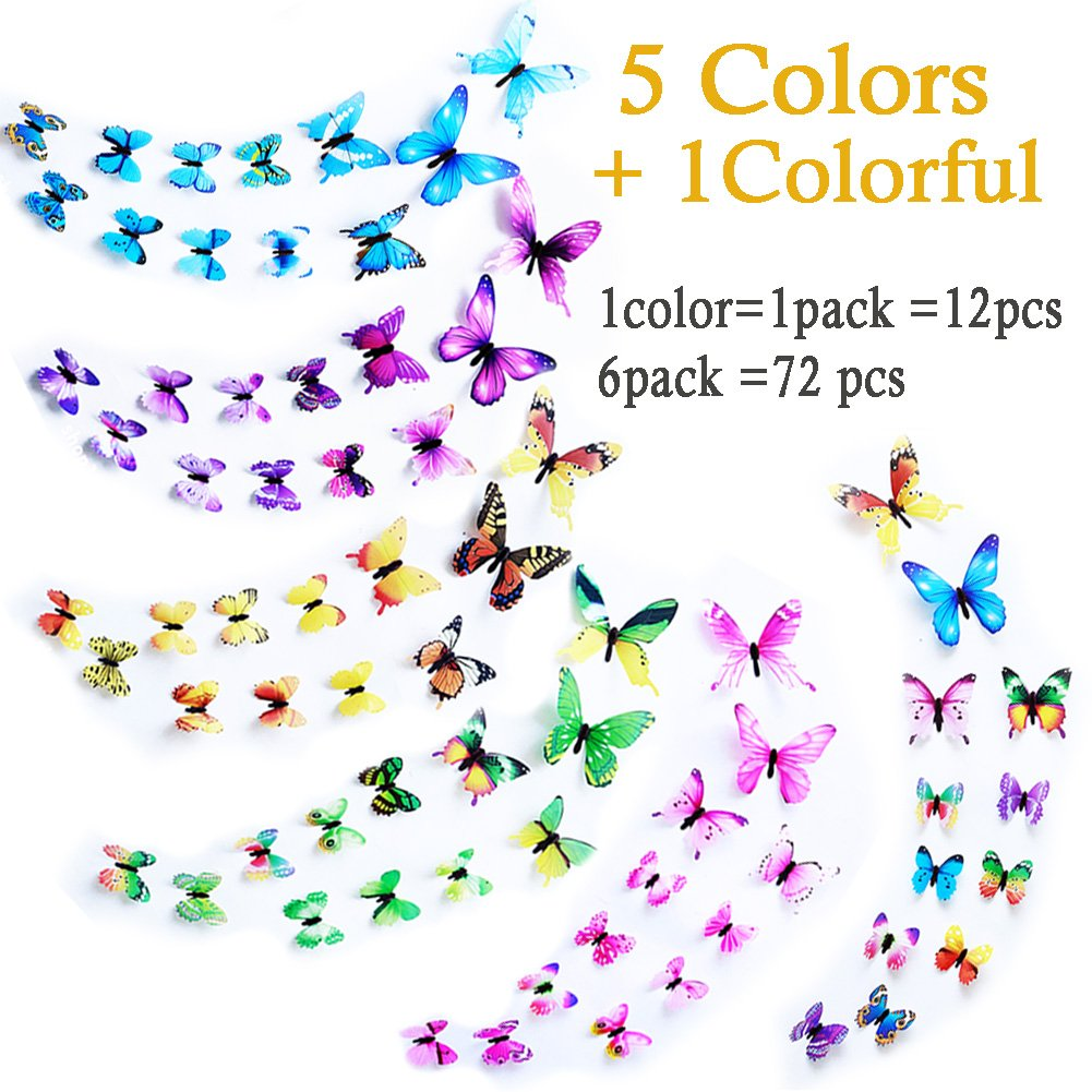 Wall Decals Butterfly 3D Sticker Decor - 72PCS Home Decoration for Living Room, Kids and Teen Girls Removable Mural Wall Art, Baby Nursery Bedroom Bathroom, Waterproof DIY Crafts by Ewong (Image #2)