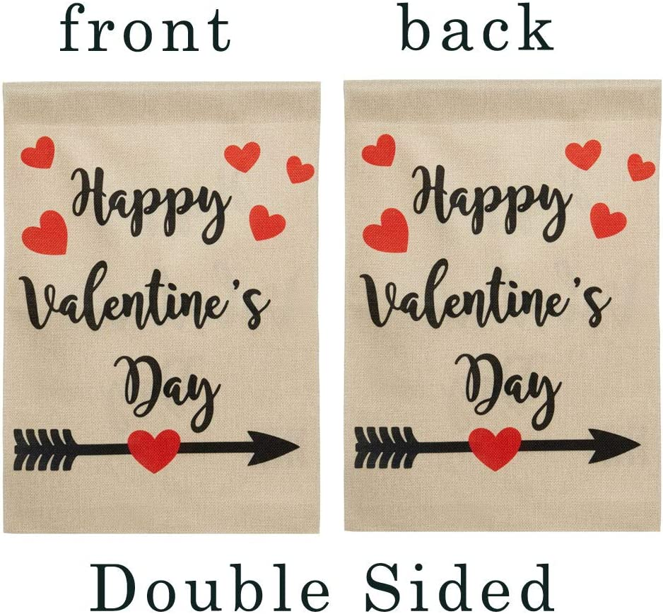 DOLOPL Valentines Garden Flag 12.5x18 Inch Double Sided Decorative Happy Valentine's Day Love Heart Yard House Flag for Valentine's Day Outdoor Indoor Decoration