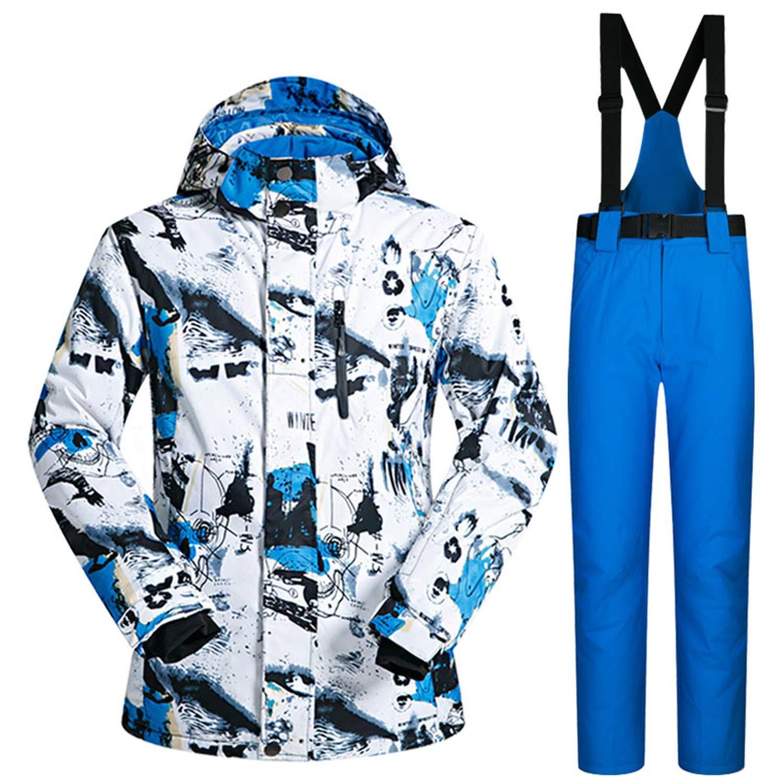 Ski Suit Men Winter Windproof Waterproof Thermal Snow Jacket and Pants Sets Skiwear Skiing and Snowboard Ski Jacket Men,BaiLan and DarkBlue,M