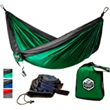 Greenlight Outdoor Double Camping Hammock with Hammock Straps - Lightweight Nylon Portable Hammock, Best Parachute Double Hammock for Backpacking, Camping, Travel, Beach, Yard.