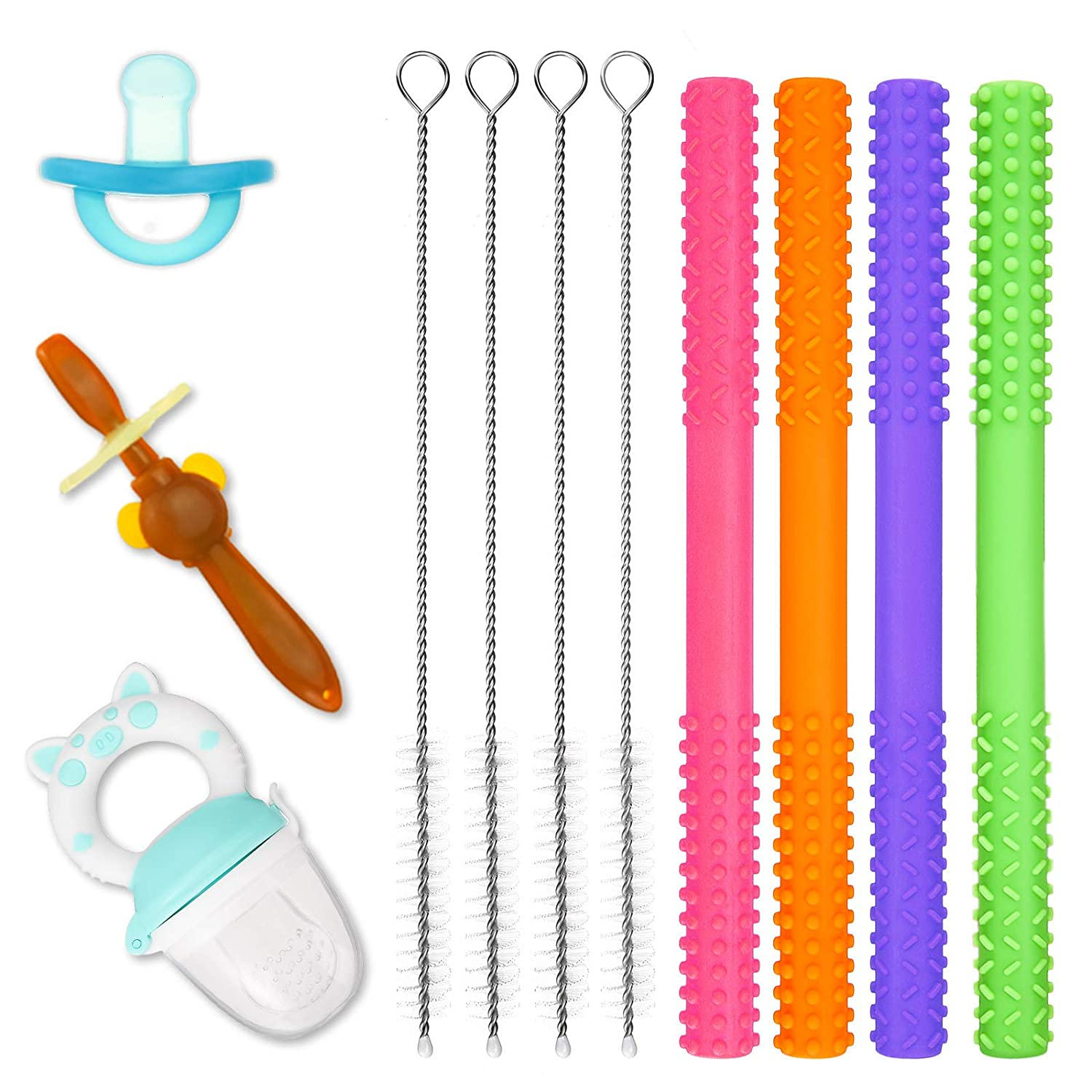 CHARMINER Teething Tubes, Baby Toddler Teethers, Baby Food Feeder, Baby Toothbrush, 7 Pack Silicone Teether Tubes for Babies with 4 Cleaning Brush