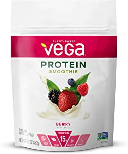 Vega Protein Smoothie, Berry, Plant Based Protein Powder - Vegan Protein Powder, Keto-Friendly, Vegetarian, Gluten Free, Soy Free, Dairy Free, Lactose Free, Non GMO (12 Servings, 9.2oz)
