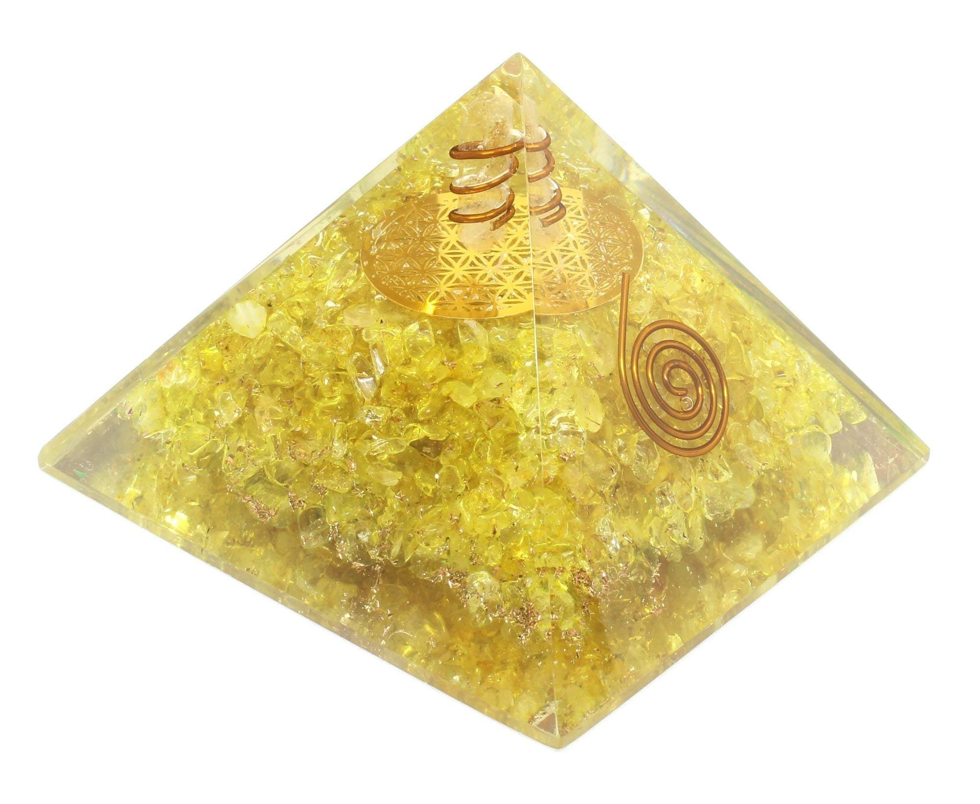 Orgone Pyramid-Citrine Copper Healing Crystals-Orgone Energy Pyramid for EMF Protection Chakra Balancing-Heart Love Booster-Flower of Life by Crystal Agate