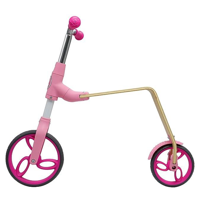 AEST Correpasillos Y Patinete 2 En 1 Bicicleta Sin Pedales Reversible Scooter 2 Ruedas Niño Niña 3-5 Años - Color Rosa