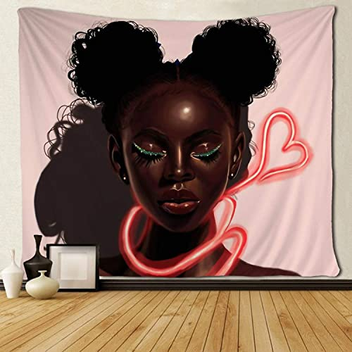 SARA NELL Black Art Wall Tapestry Hippie Art Tapestry Afro Girls Black Girl African American Girl Love Pink Tapestries Wall Hanging Throw Tablecloth 60X90 Inches for Bedroom Living Room Dorm Room