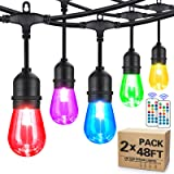 WENFENG 2-Pack 48FT RGBW Led Outdoor String Lights, with Dimmable Remote Control, 30+5 pcs Hanging Shatterproof Vintage Ediso