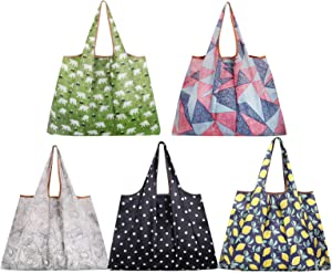 Reusable Shopping Bags,5 Pack Eco Friendly Large Grocery Bags Heavy Duty Foldable and Washable Nylon Tote Bag for Foods Groceries