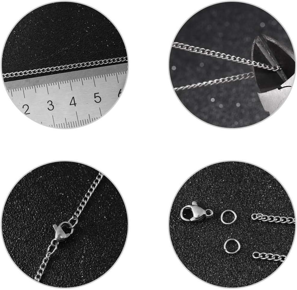 Sauvoo 33FT Collar de eslabones de cadena de cable de acero inoxidable 1.5//2 2.5mm con 20 cierres de langosta y 30 anillos de salto para hacer joyas