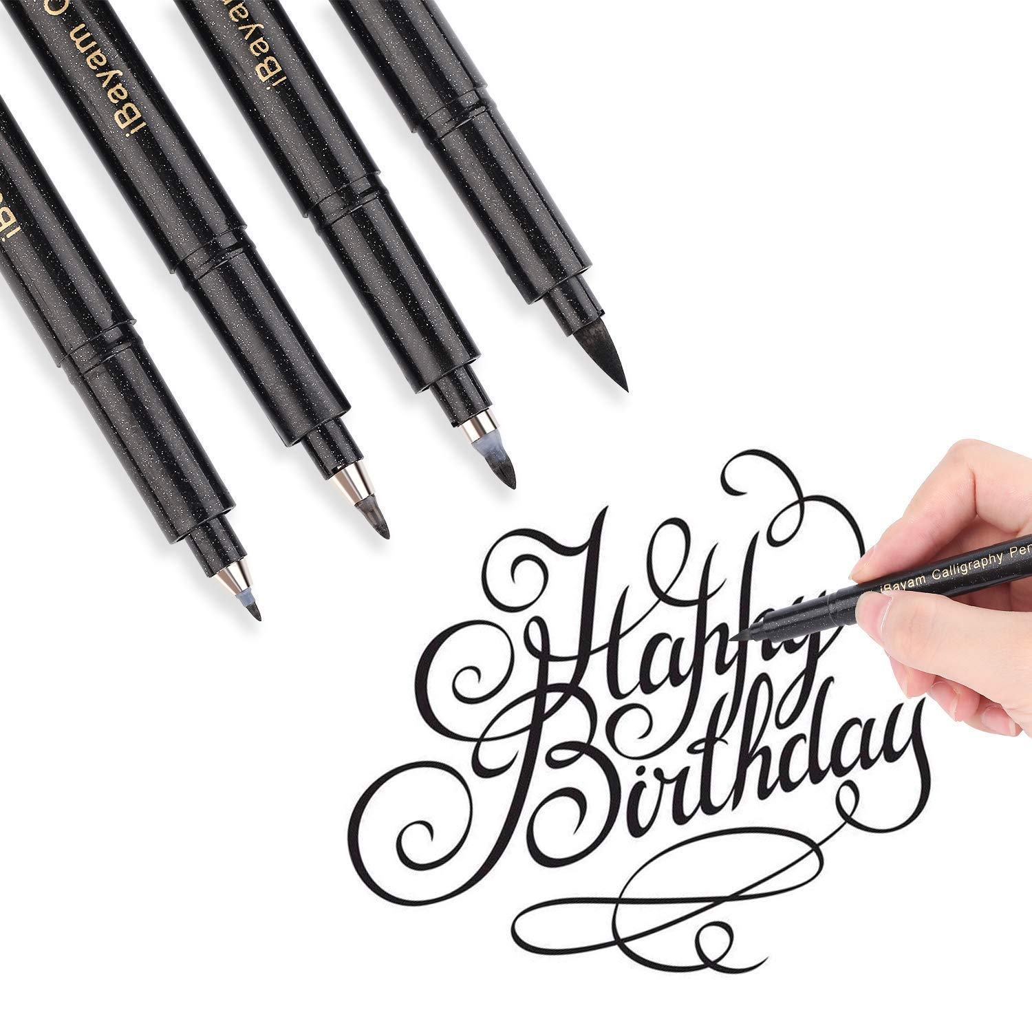 Refillable Hand Lettering Pen, Brush Pens Markers for Calligraphy Beginners Signature Writing Art Drawing Illustration, Design - 4 Sizes Black Ink Pens Art Marker Set by iBayam (Image #5)