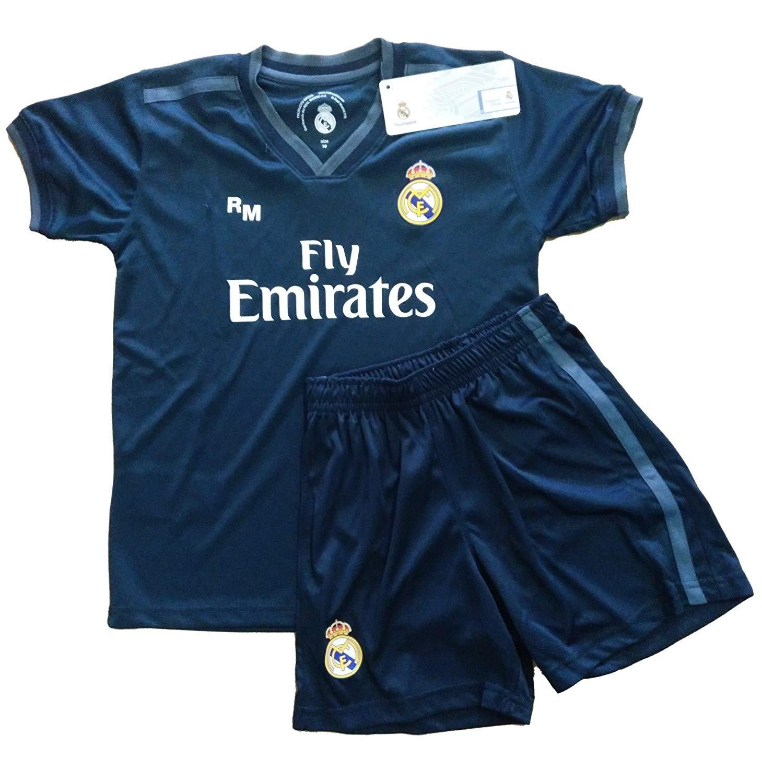 T-Shirt und Hose Set 2. Gang von Real Madrid 2018-2019 - Offizielle Replik Lizenziert - Glatter grat - Kinder Größe 4 Jahre - Messungen Truhe 31.5 - Gesamtlänge 46 - Langarm 13 cm.