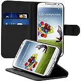 kwmobile Wallet Case Hülle für Samsung Galaxy S4 - Cover Flip Tasche mit Kartenfach und Ständerfunktion in Schwarz