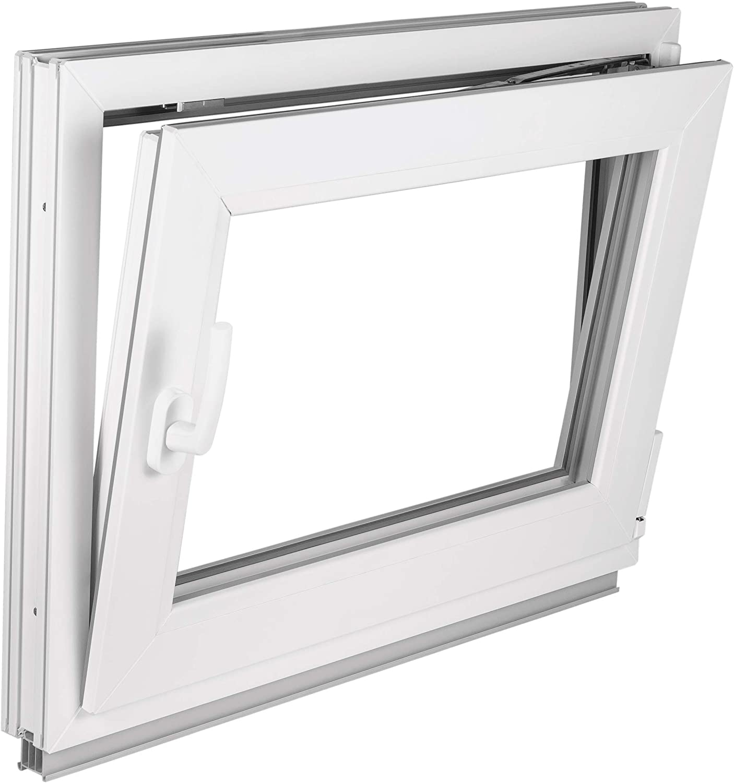 BxH: 90x75 cm DIN Links Premium Fenster Kellerfenster Kunststofffenster Breite: 90 cm 2 fach Verglasung Alle Gr/ö/ßen Dreh Kipp Wei/ß