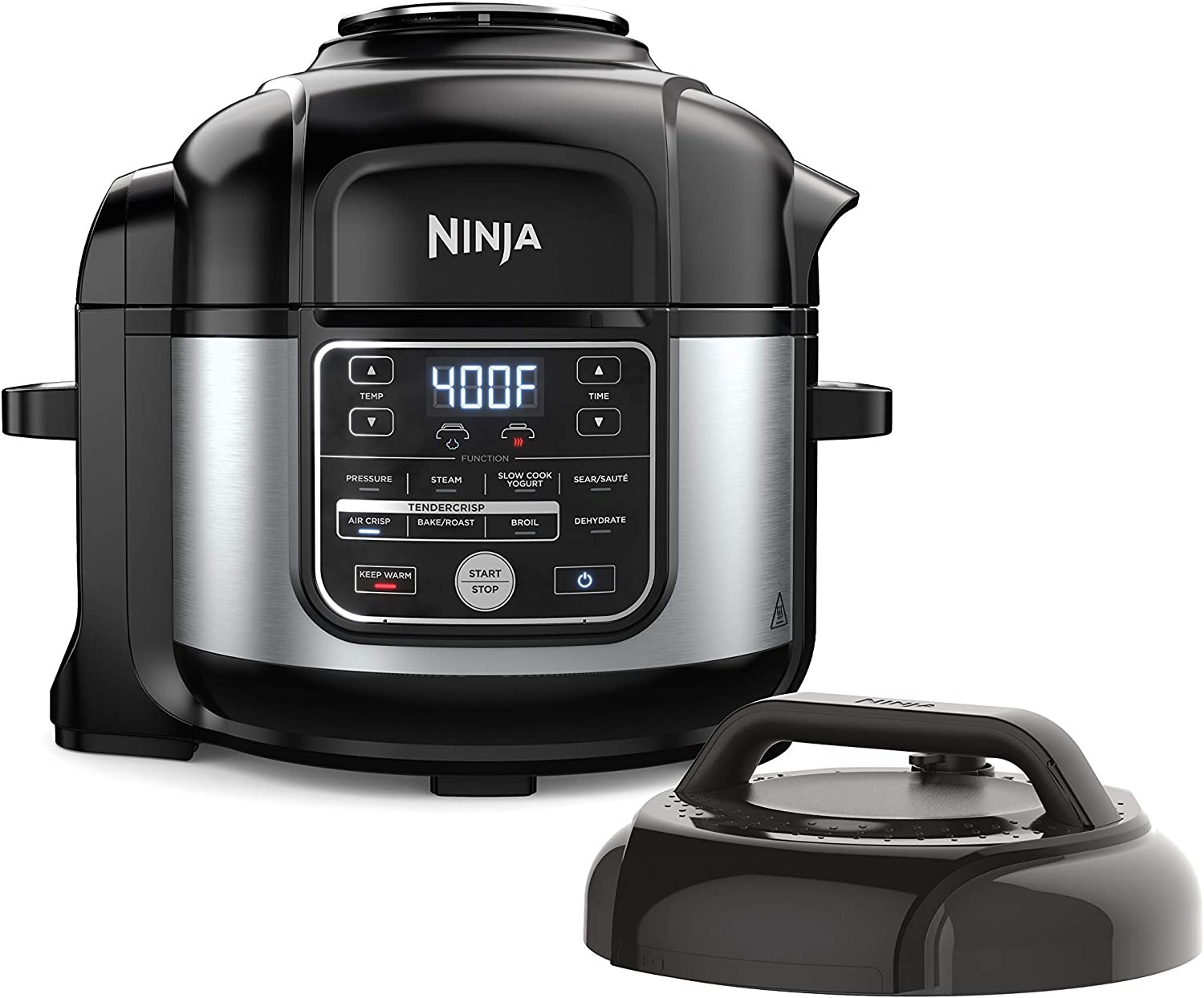 Ninja OS301 Foodi 10-in-1 Pressure Cooker and Air Fryer with Nesting Broil Rack, 6.5-Quart Capacity, and a Stainless Finish (Renewed)