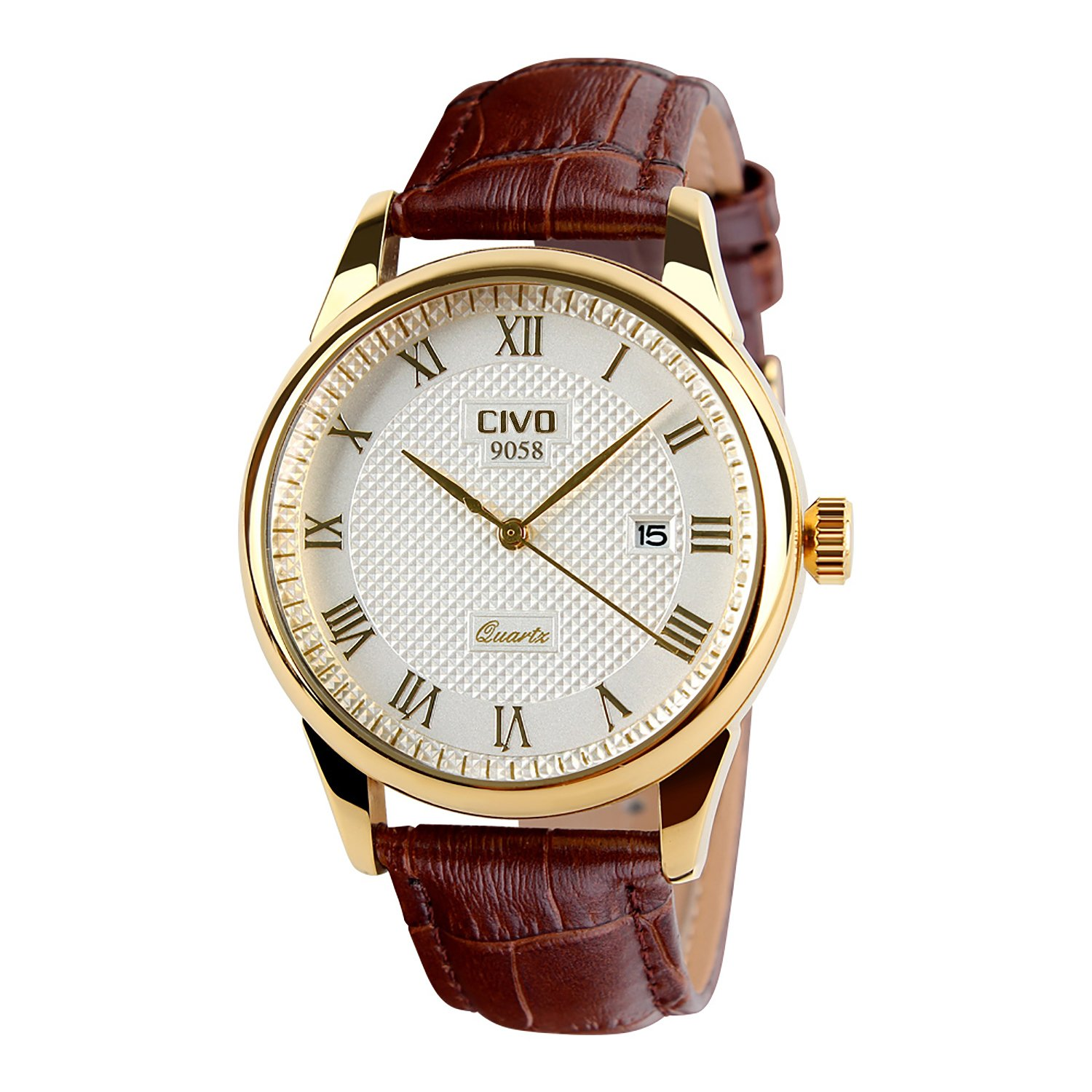 amazon co uk watch deals special offers civo men s brown genuine leather band date calendar wrist watch mens casual business analogue quartz waterproof watches classic