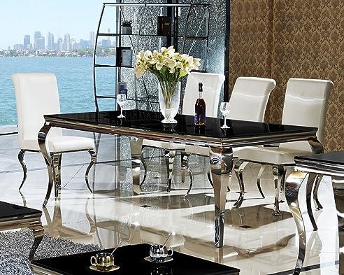 esstisch 180 x 90 x 76 lara schwarz esszimmer designer luxus tisch bro edelstahl glas barock - Esstisch Barock Modern