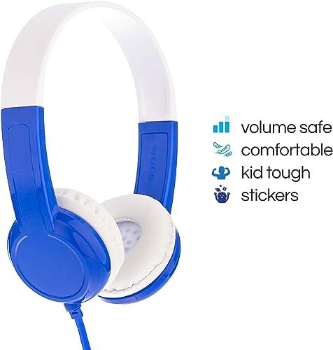 BuddyPhones Discover Kids Headphones Non-Foldable, Durable, Comfortable Kids Safe Volume Limiting Built in Audio Splitter Blue