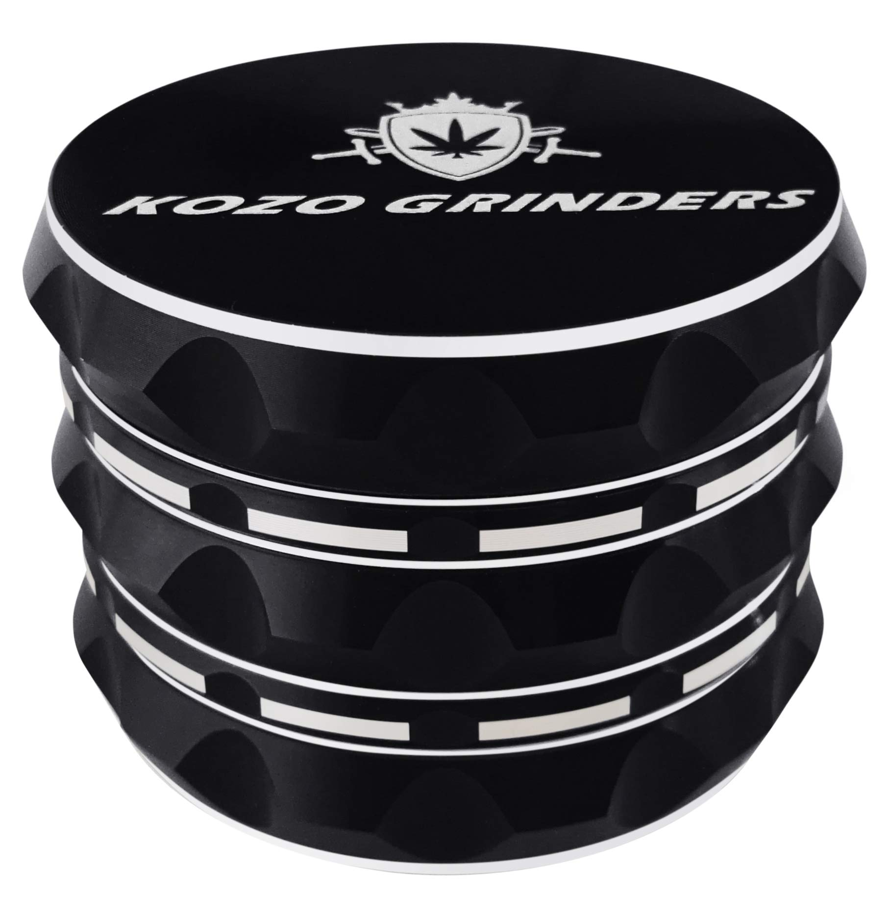Kozo Grinders [Upgraded Version] Best Herb Large 4 Piece, 2.5'' Black Aluminium
