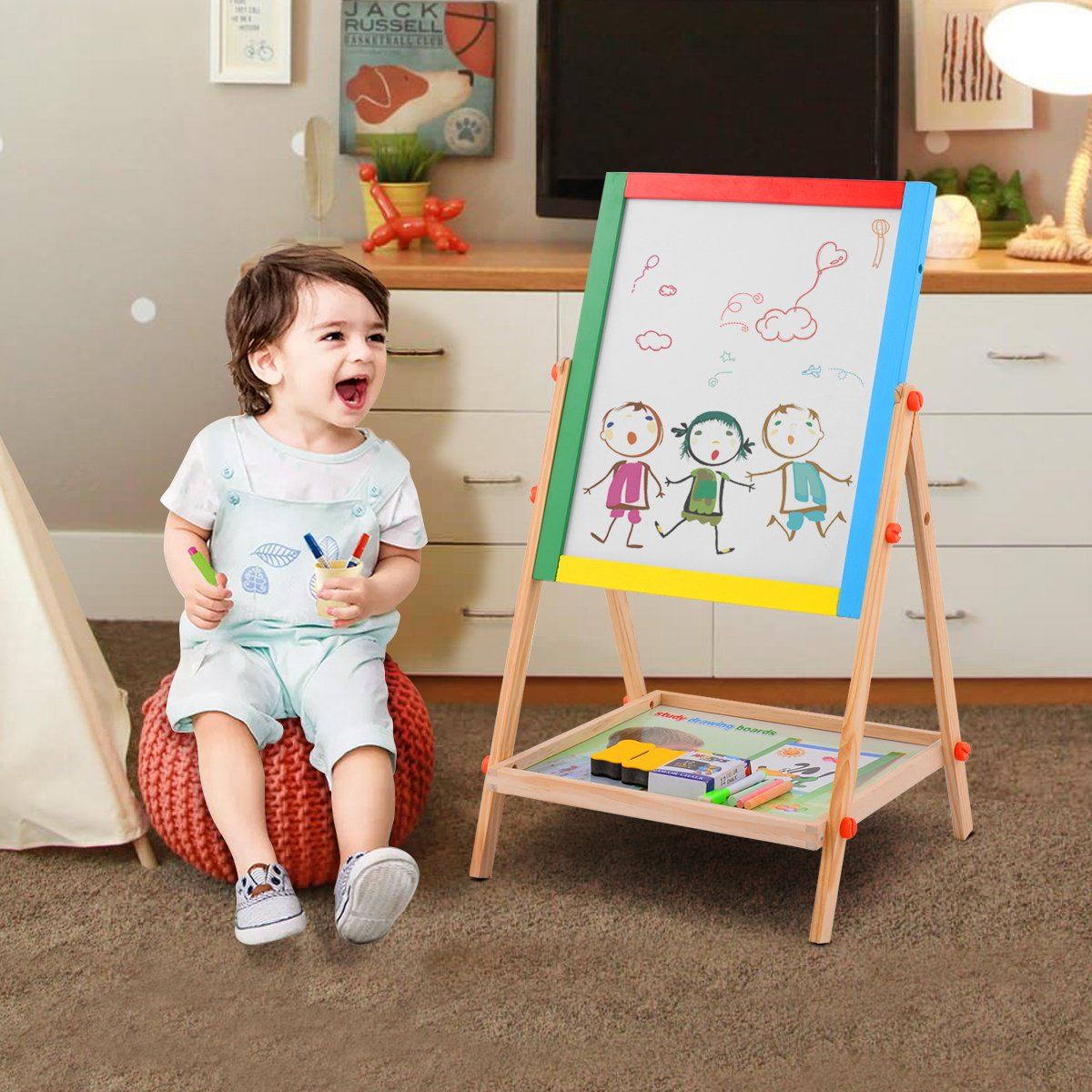 Double Sided Adjustable Chalkboard /& White Dry Erase Surface with 12 PCS Chalks Costzon 2 in 1 Kids Easel Marker Pen Natural Wood Magnetic Sponge /& Bottom Tray Wood Standing Easel for Toddlers