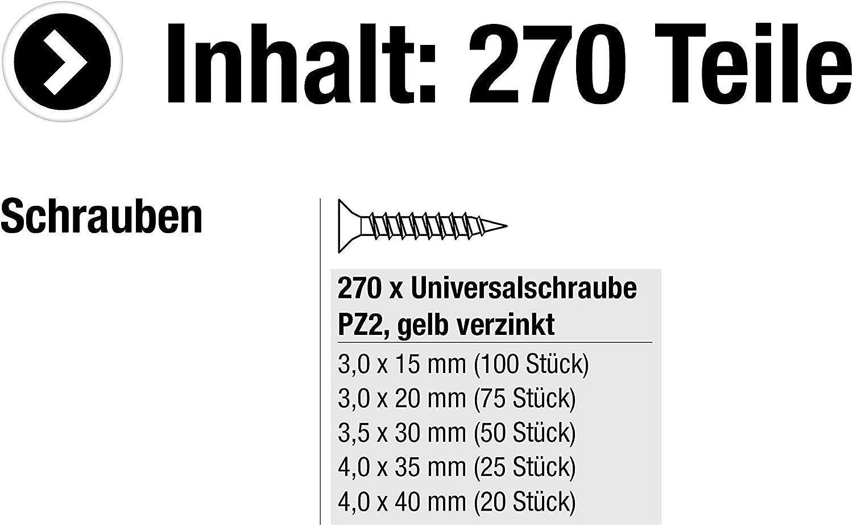 Gelb verzinkt // Schrauben-Set // Sortimentskasten // 947600 Vollgewinde Diverse Gr/ö/ßen Senkkopf PZ Pozidriv-Antrieb Meister Universalschrauben-Sortiment 270-teilig