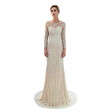 db7b0a8aa19 Trendership Women s Long Sleeves Formal Dresses with Beaded Crystal Luxury  Prom Gown Evening Dress at Amazon Women s Clothing store
