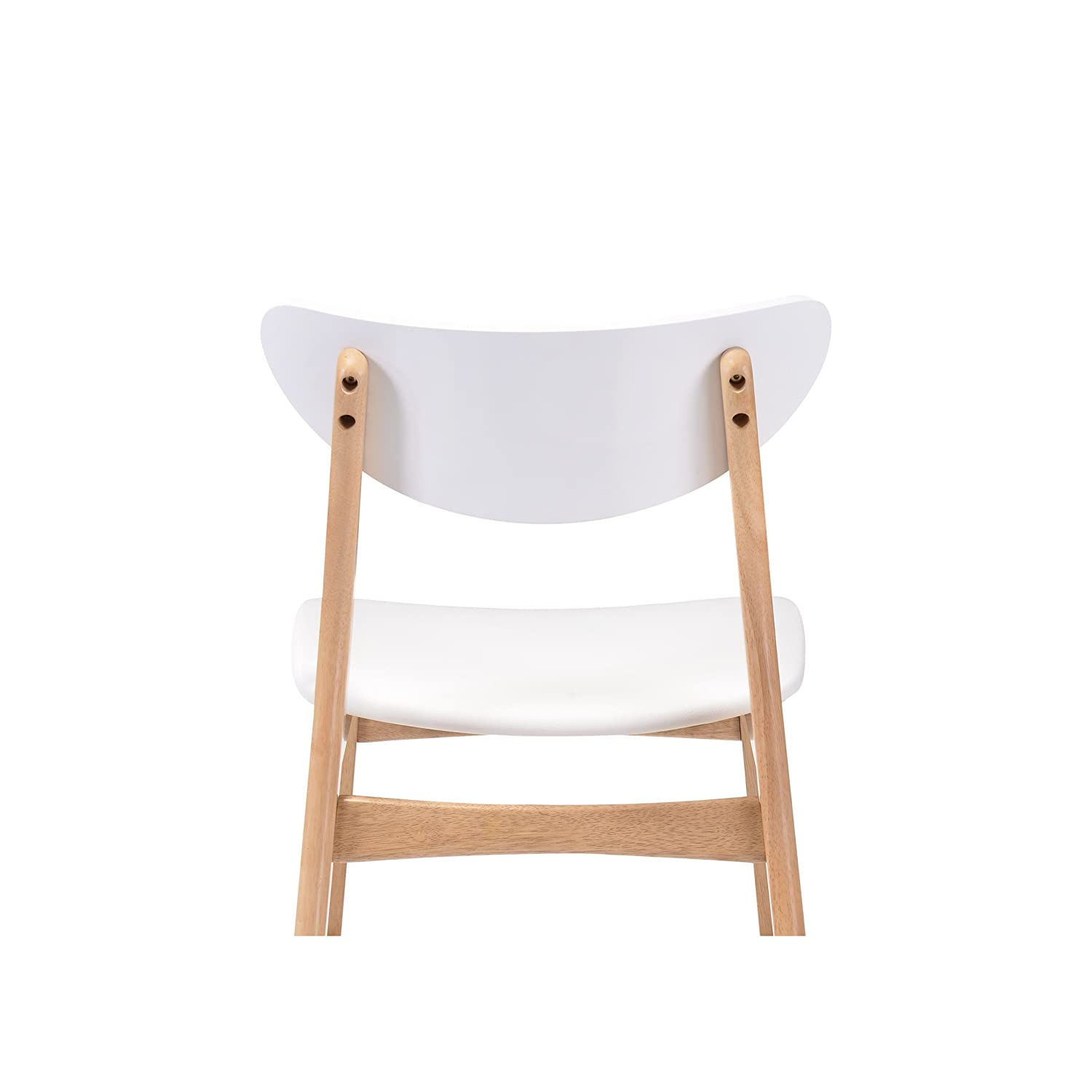 Amazon com emerald home simplicity white and light oak 24 bar stool with vinyl upholstered seat and curved back set of two kitchen dining
