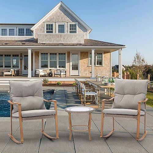 HOMPUS 3-Piece Rocking Chairs Bistro Set Outdoor Wicker Patio Furniture Woodgrain Arm Rest w Warm Gray Cushion