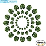 36pcs Tropical Leaves Palm Decorations Artificial , Elite Choices 3 Sizes Real Looking Imitation Green Plant Leaf ,Hawaiian Jungle Beach Theme Decorations for Birthdays, Arts & Crafts , Weddings