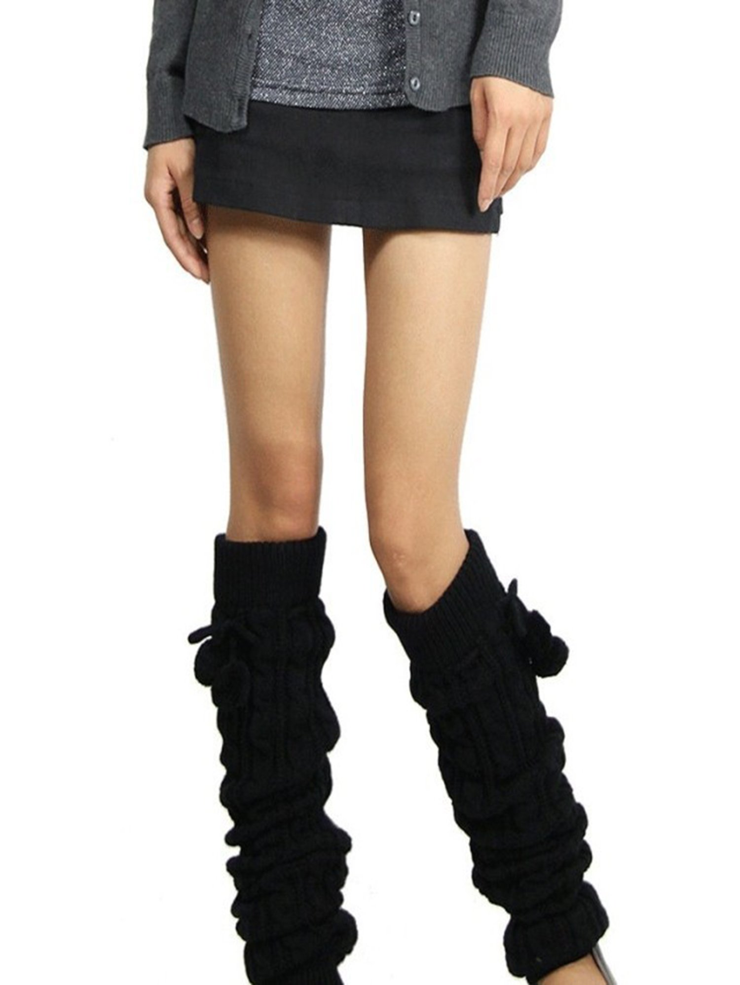 Women Leggings Boots Leg Warmer Knit Crochet Socks Cable Knit Long Boot Socks Legwear Pompom Leg Warmer Stocking, Black, One size(25.6inch)