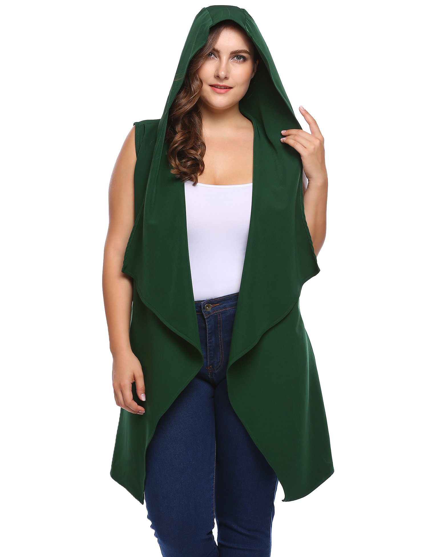 zeagoo Women's Plus Size Fashion Hooded Sleeveless Belted Asymetric Hem Open Front Long Cardigan Cover Up Vest Coat, Army Green, 22 Plus