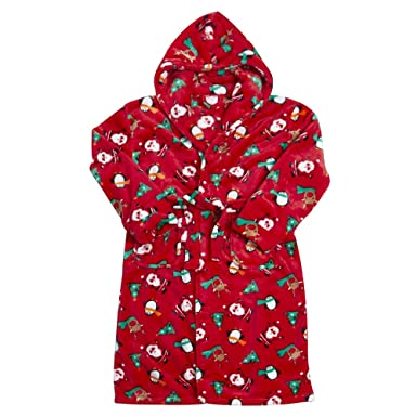 Boys Or Girls Character Christmas Camouflage Plain Fleece Dressing Gown Robe cd482ad02