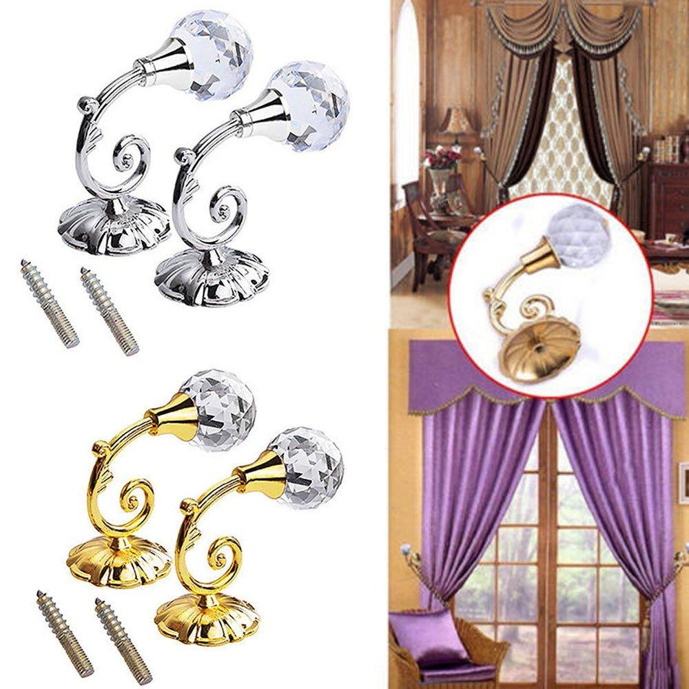 Mumustar 1 Pair Crystal Clear Curtain Holdback Wall Mounted Hook Tassel Tie Backs Holder With Chrome Base Gold
