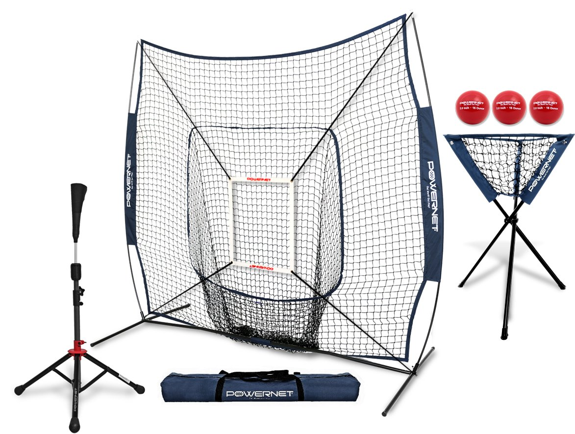 PowerNet 7x7 DLX Practice Net + Deluxe Tee + Ball Caddy + 3 Pack Weighted Ball + Strike Zone Bundle (Navy) | Baseball Softball Coach Pack | Pitching Batting Training Equipment Set | 7' x 7'