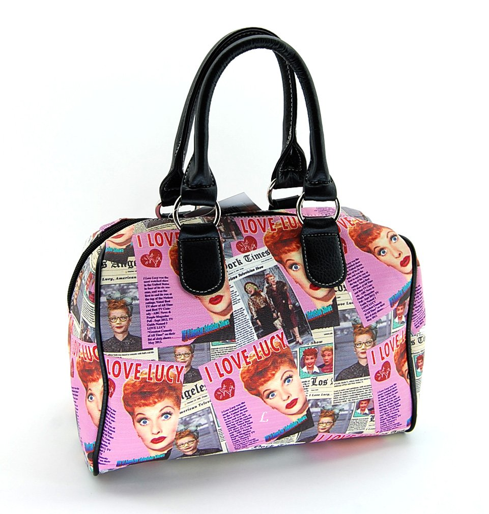 I Love Lucy Pink Collage Satchel Purse Bag