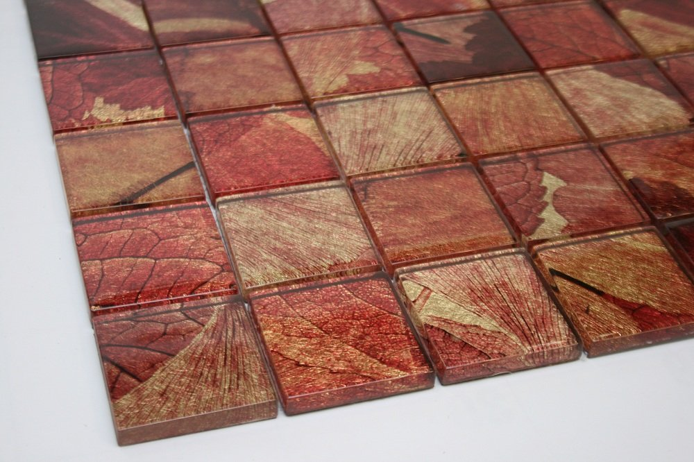 Marble 'n things Summer - 2'' x 2'' Red, Gold & Brown Glass Tile