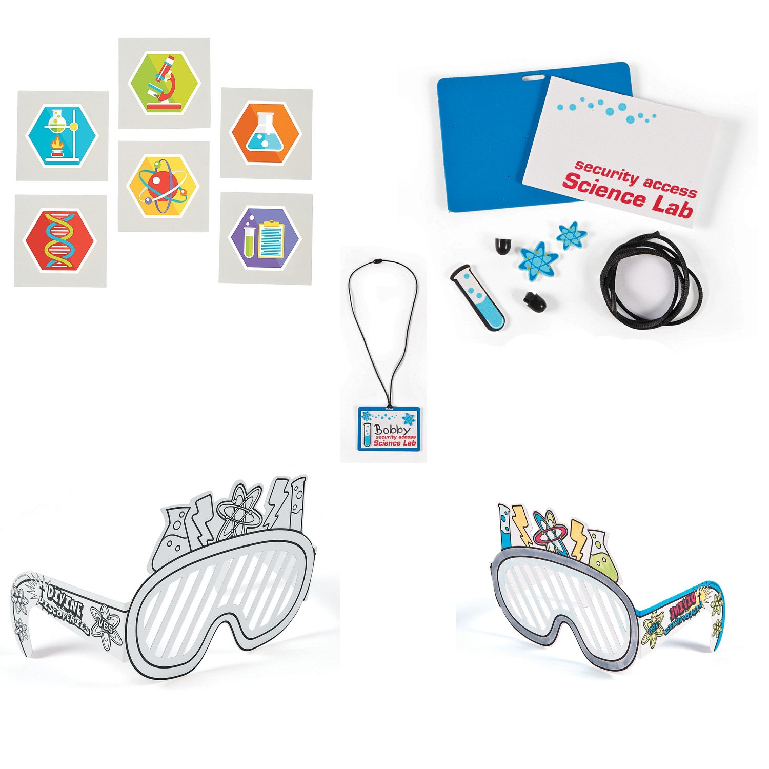 William & Douglas Science Lab Party Bundle for Birthday and Children's Art and Craft Activities   Color Your Own Science Lab Glasses, Science Party Tattoos & Science Lab Name Tag Craft Kit