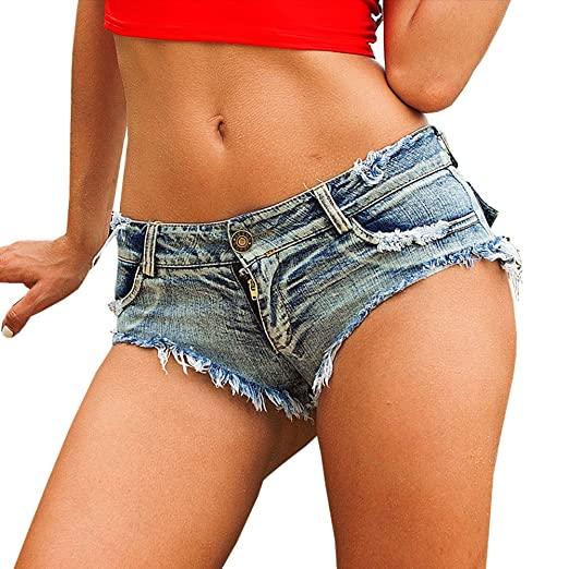 b24967e9870b Yollmart Women's Low Waist Sexy Denim Short Hot Pants Sexy Mini Jeans Shorts -Blue-