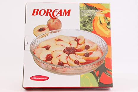 Borcam-redondo Cake molde para el horno de vidrio bandeja de horno