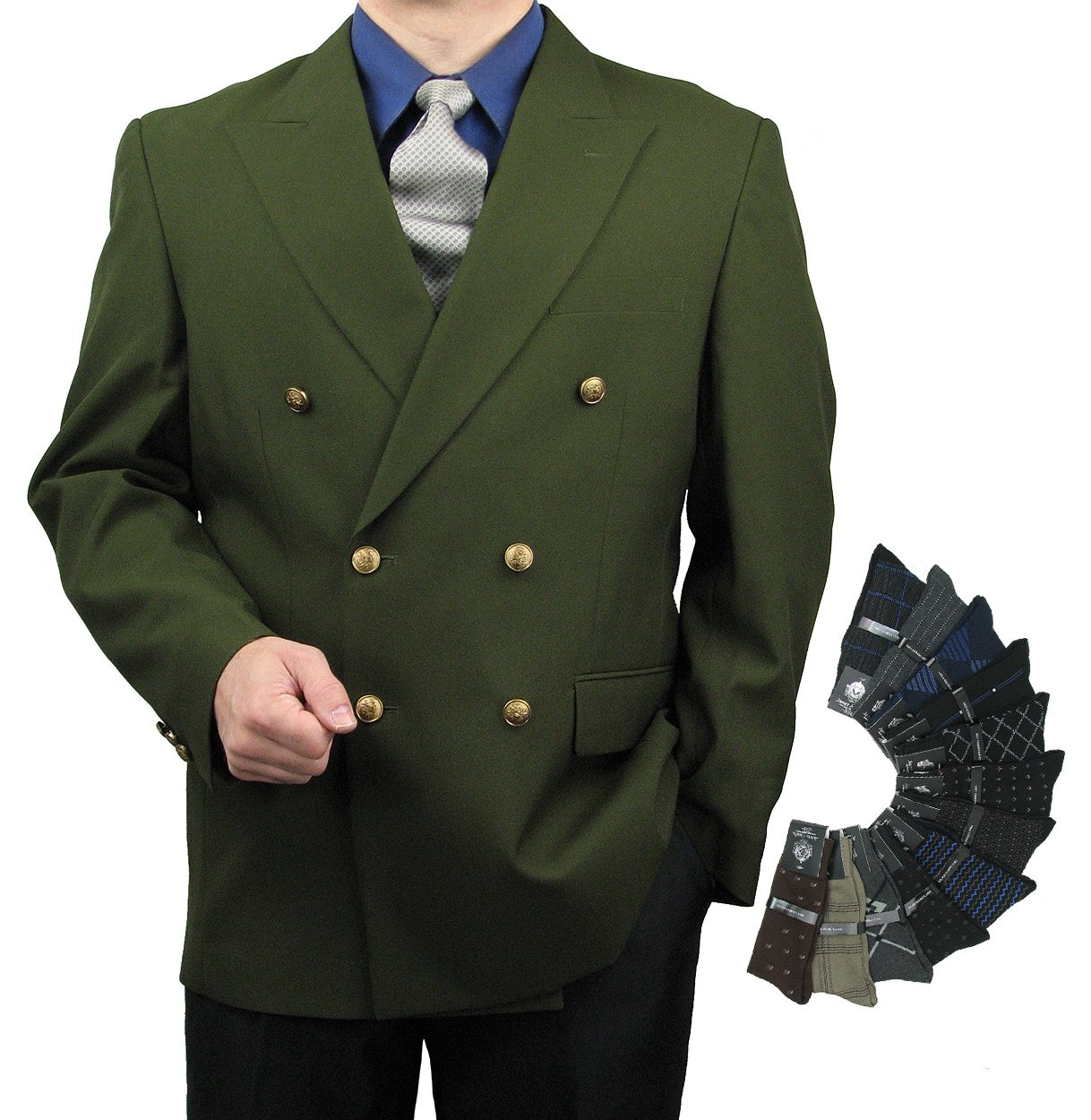 Men's Classic Fit Double-Breasted Blazer Jacket Sports Coat w/One Pair Of Dress Socks - Olive 52L
