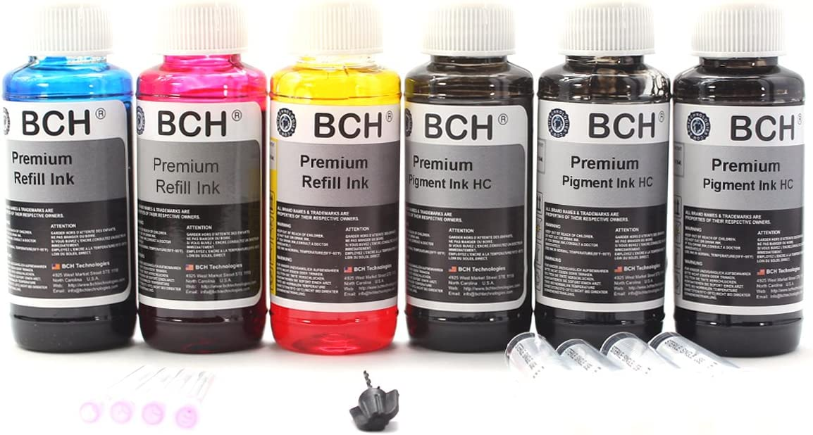 BCH Premium 600 ml (20oz) Bulk Refill Ink for HP Printers - (3 Pigment Black + Photo Dye)