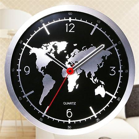 Komo stylish bold aluminum metal in creative world map clock face komo stylish bold aluminum metal in creative world map clock face round mute classic quartz large gumiabroncs Images