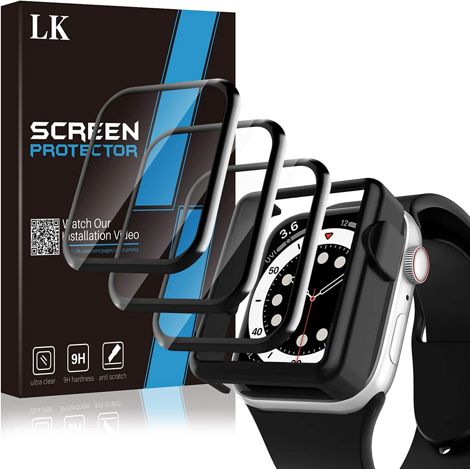3 Pack Screen Protector Compatible with Apple watch Series 6/5/4/SE 44mm, Not tempered Glass, Full Coverage, Easy to install, Shatterproof HD Clear Film