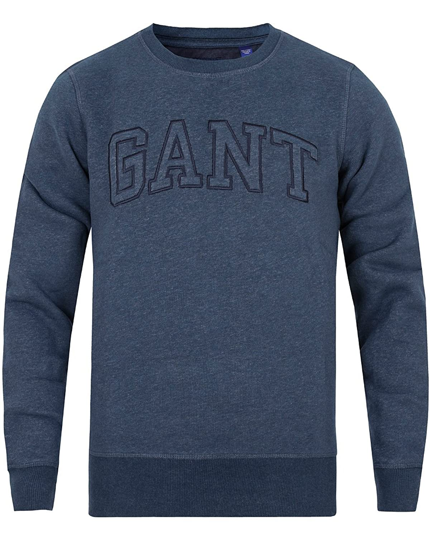Gant Men's Padded Crew Neck Sweatshirt Jumper Deep Indigo Melange