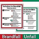 Set cartelli Verhalten im Brandfall und Verhalten bei Unfällen, 18 x 20 cm, con protezione UV, adesivo PVC, ISO 7010, piano di emergenza aziendale.